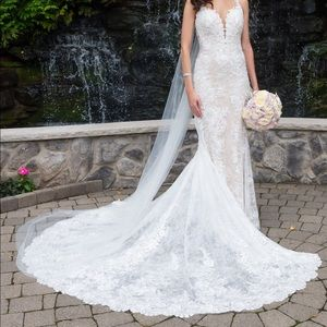 Wedding dress with lace, beading and sequins